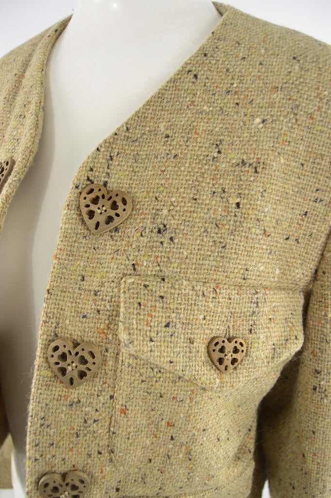 Vintage Women's Love Heart Button Tweed Jacket, 1990s