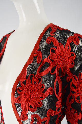 Vintage Red & Black Ribbonwork Lace Jacket, 1980s