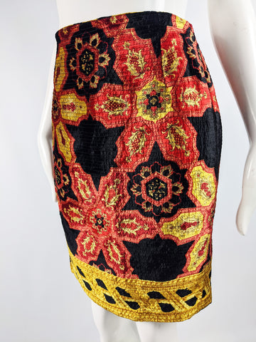 Vintage Baroque Print Velvet Party Skirt, 1980s