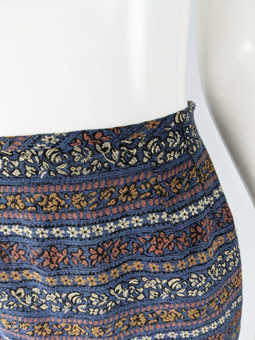 Womens Blue Vintage Brocade Pencil Skirt, 1980s