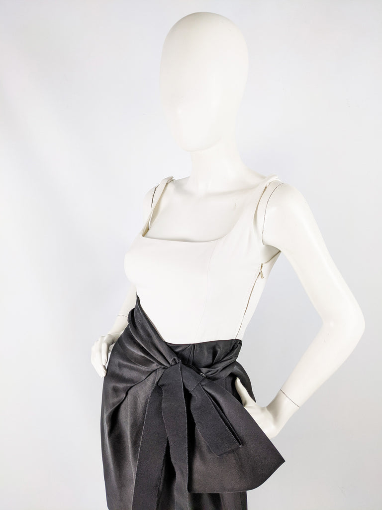 Black & White Mini Silk Party Dress, 21st Century