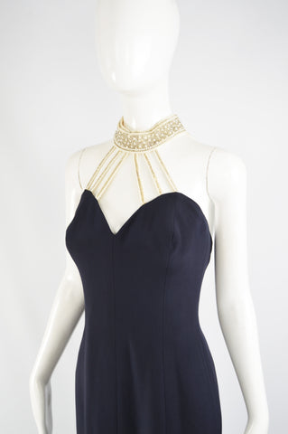 Vintage Pearl Beaded Navy Formal Evening Gown, 1980s
