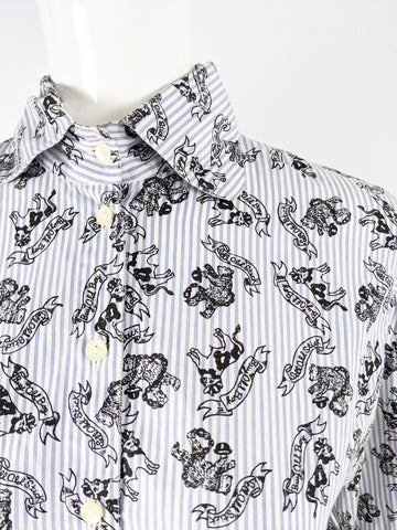 Vintage Architectural Sleeve 'Wall Street' Print Shirt, 1980s