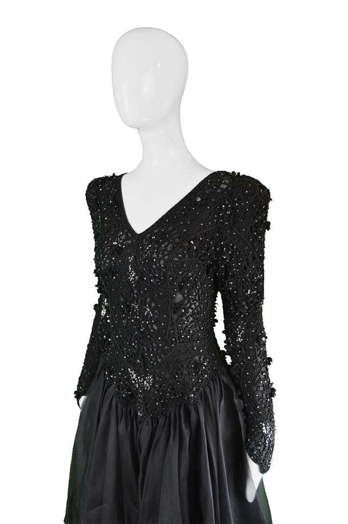 Vintage Haute Couture Beaded Party Dress, 1980s