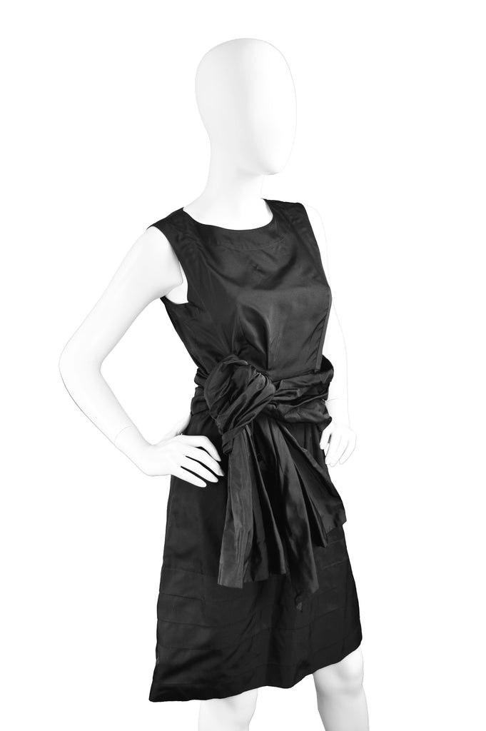 Black Silk Taffeta Cocktail Party Dress, 2000s