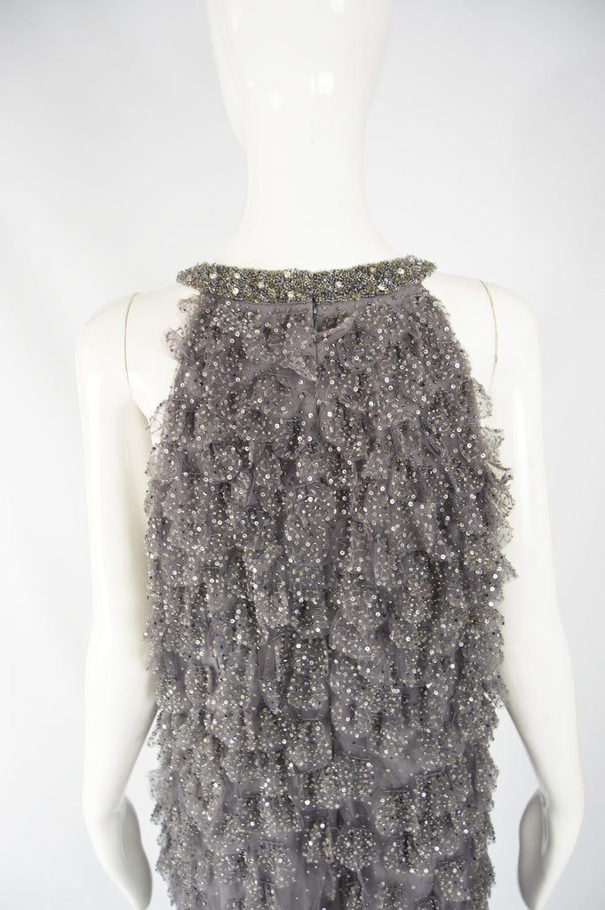 Grey Vintage Beaded & Sequinned Party Dress, 1990s