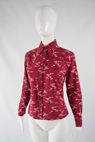 Vintage Womens Butterfly Collar Knit Shirt, 1970s