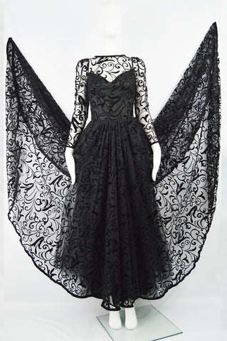 Vintage Black Tulle & Velvet Evening Gown, Fall 1993