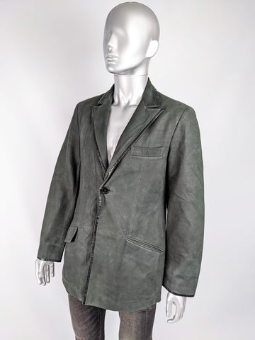 Mens Vintage Dark Green Suede & Leather Blazer, 1990s