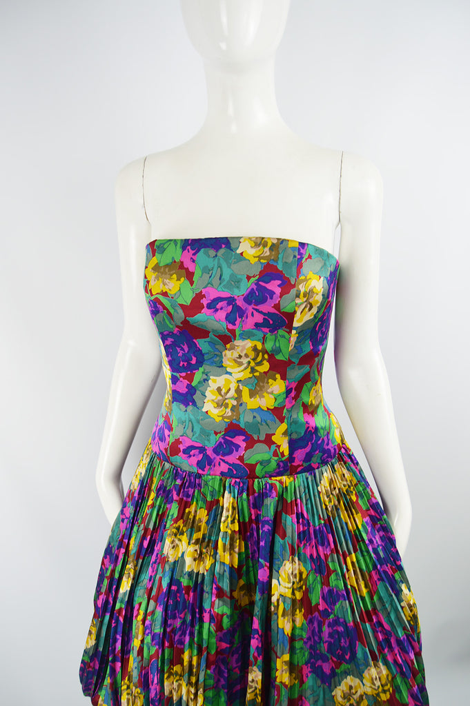 Womens Vintage Silk Pleated Floral Dress, Fall 1988