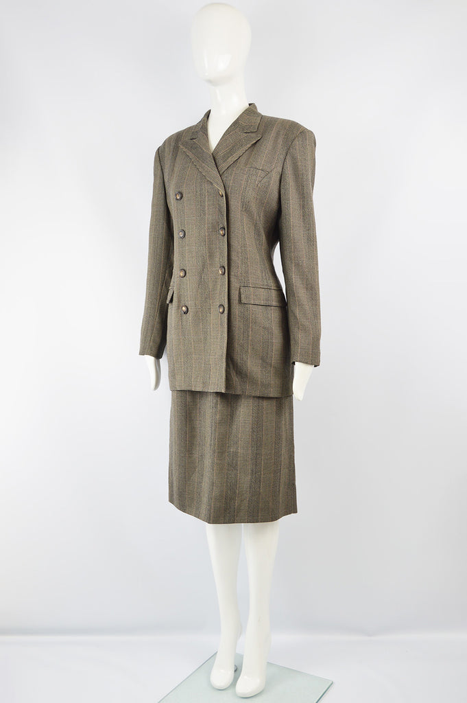 Vintage Womens Stuctured Shoulder Longline Skirt Suit, 1980s
