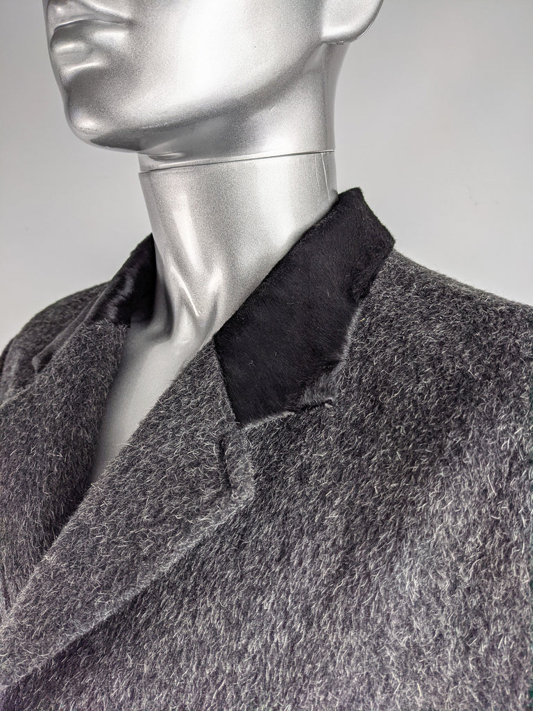 Mens Vintage Grey Wool & Ponyskin Chesterfield Coat, 1990s