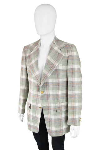 Mens Light Vintage Plaid Jacket, 1970s