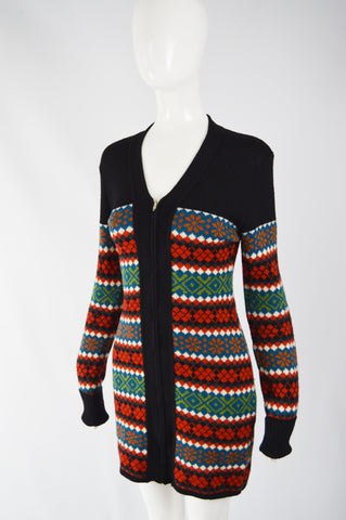Vintage Womens Knit Cardigan Jumper Dress, 1980s