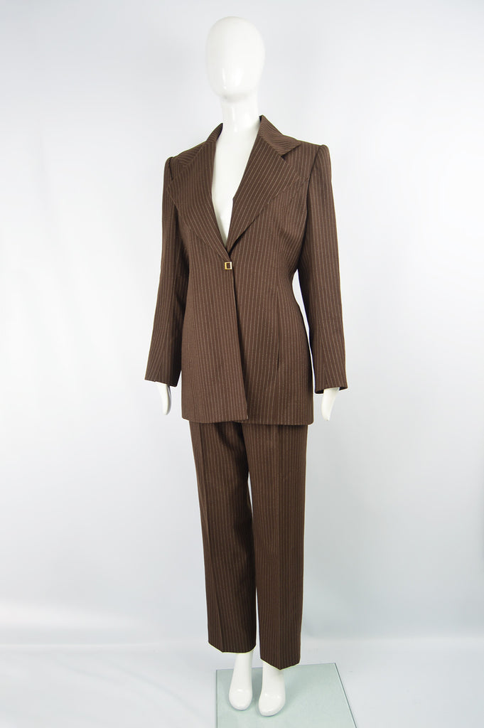 Women's Vintage Brown Pinstripe Trouser Suit, A/W 1998