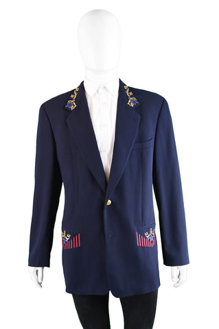 Dark Blue Embroidered Wool Blazer, 1980s