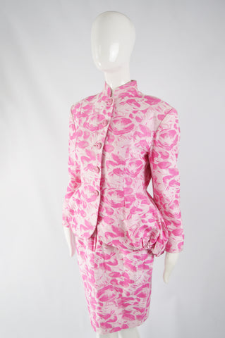 Vintage Womens Pink Floral Bustle Skirt Suit, 1980s