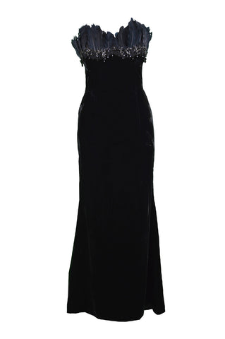 Vintage Beaded Feather & Velvet Evening Gown, 1990s