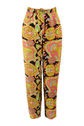 Women's Vintage Multicoloured Paisley Pants, 1990s