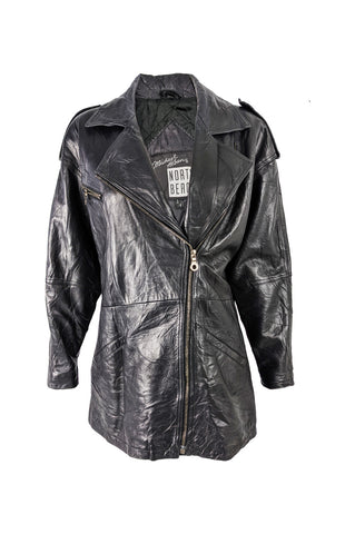 Vintage Womens Black Leather Biker Jacket, 1980s
