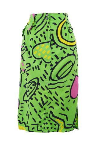 Vintage Green Cotton Keith Haring Collaboration Skirt, S/S 1985
