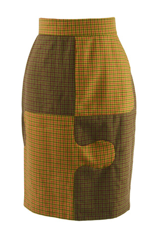 Vintage Jigsaw Pattern Wool Midi Skirt, 1980s