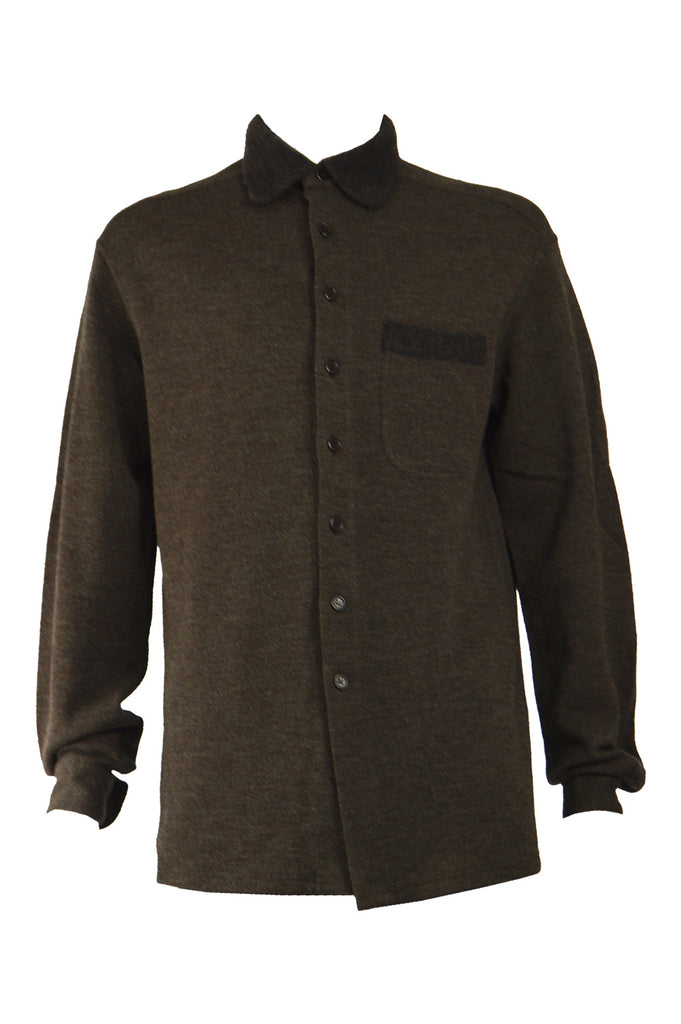 Mens Vintage Wool Blend Long Sleeve Overshirt, 1990s