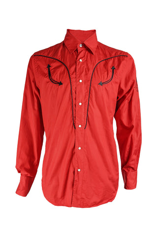 Mens Vintage Red Western Style Embroidered Shirt, 2000s