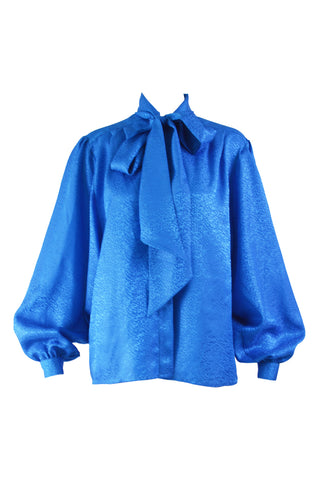 Vintage Balloon Sleeve Blue Pussybow Blouse, 1980s