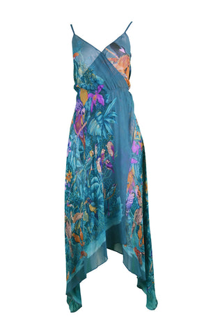 Womens Vintage Silk Chiffon Dress, Spring 1970