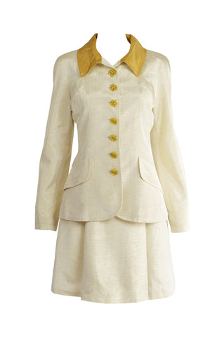 Vintage Cream & Gold Lamé Faille Suit, 1990s
