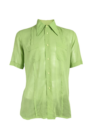 Mens Vintage Green Sheer Pleated Shirt, 1960s