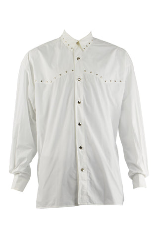 Mens Vintage White Studded Western Style Shirt, 1980s