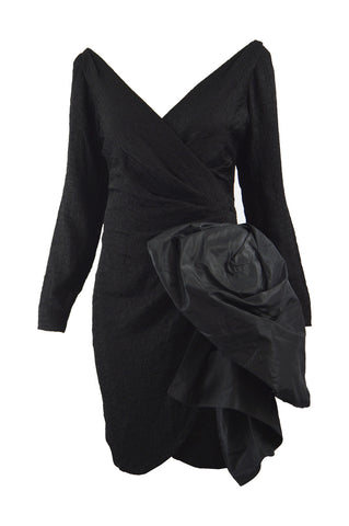 Vintage Women's Black Cloqué Evening Dress, 1987