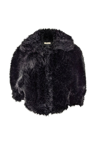 Womens Black Faux Fur, Wool & Cashmere Jacket, A/W 2014