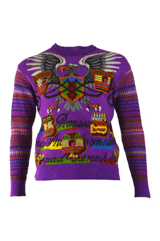 Men's Vintage Purple Eagle Knit Jumper, 1980s