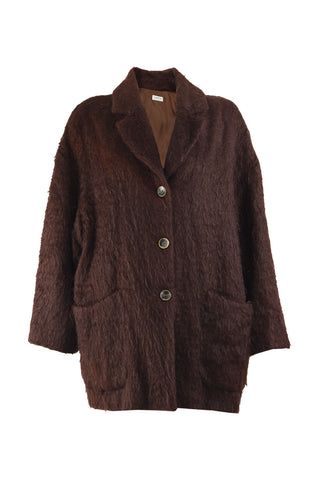 Womens Brown Vintage Mohair & Wool Oversized Coat, 1980s