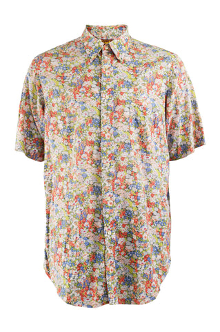 Mens Vintage Floral Print Cotton Shirt, 1980s