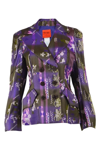 Purple Brocade Vintage Women's Blazer, 1990s