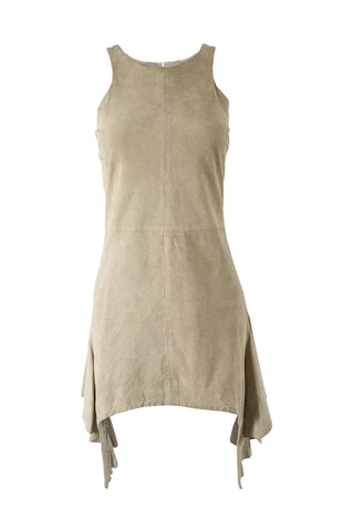 Vintage Suede Draped Mini Dress, 1990s