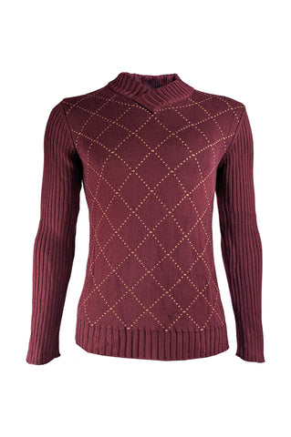 Mens Vintage Burgundy Red Diamond Jumper, 1990s