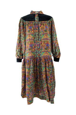 Womens Vintage Paisley & Velvet Boho Smock Dress, 1970s