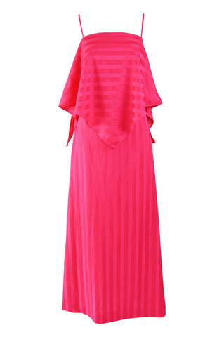 Womens Pink Vintage Tiered Evening Dress, 1970s