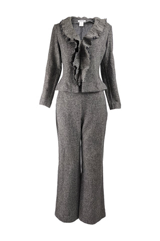 Womens Vintage Wool Tweed Wide Leg Pant Suit, 1990s