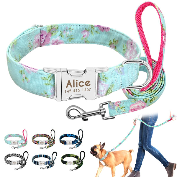 Personalised Dog Collar with Leash Pets Collars My Fond Pets