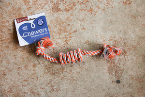 CHEWERS 3 KNOT ROPE SML ORANGE
