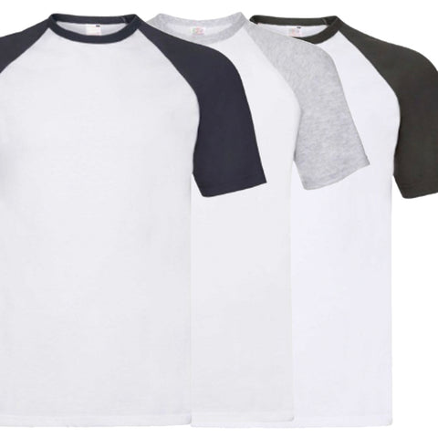 Pack of 3 Classic Baseball T-Shirts (Multiple Colours)
