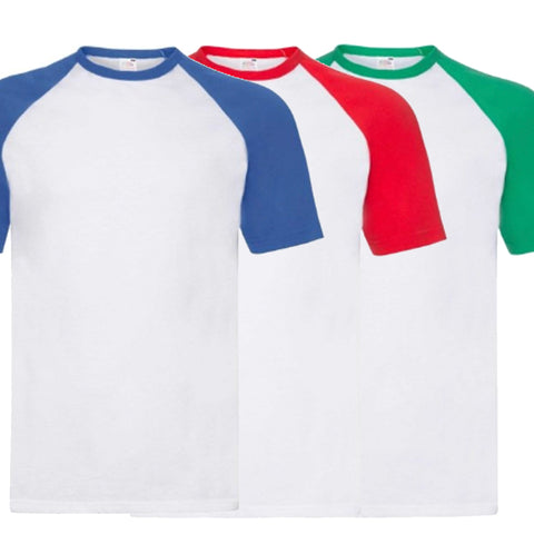 Pack of 3 Basic Baseball T-Shirts (Multiple Colours)