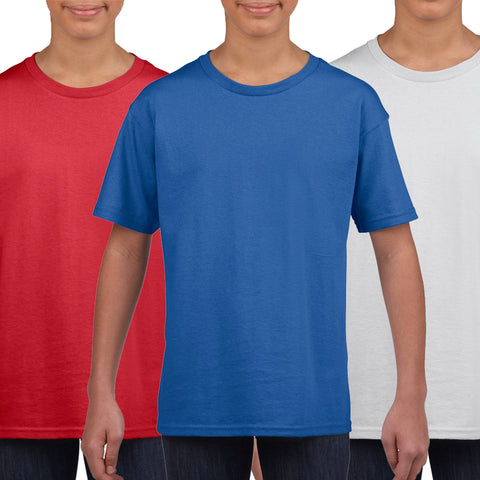Kids Pack of 5 Essential T-Shirt's (Red, Blue, White)