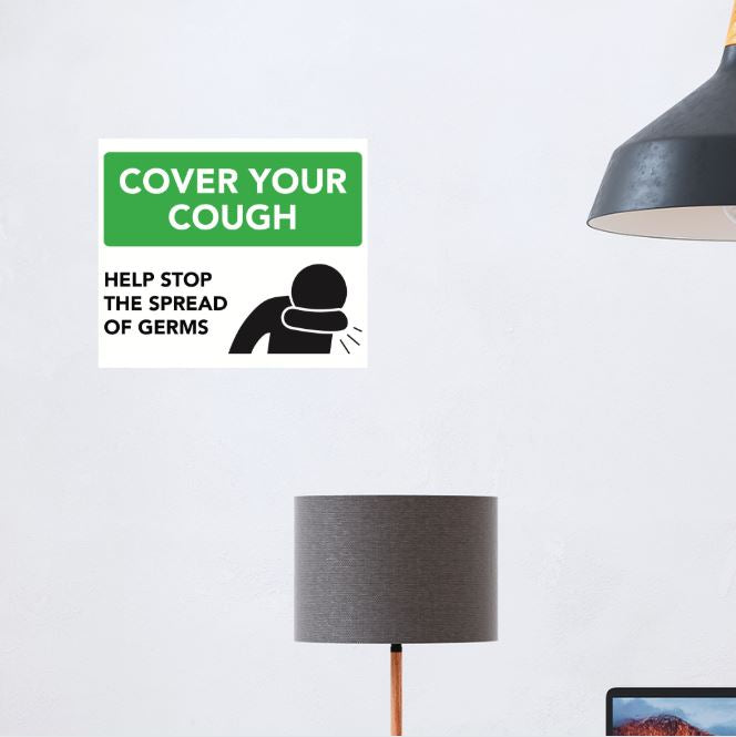 """Cover Your Cough"" 1-Part Diagram (Wall Decal) [201-11]"